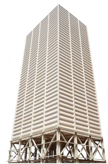 Afbeelding: vierkante silo met damwand.